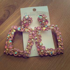Blingy Pink Crystal Earrings Super Fab Pierced